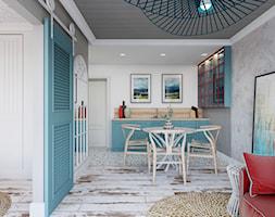 """Apartament hotelowy """"Summer Vibes"""" - Mała otwarta biała szara kuchnia jednorzędowa w aneksie, styl rustykalny - zdjęcie od Architekt Wnętrz Patrycja Wojtaś"""