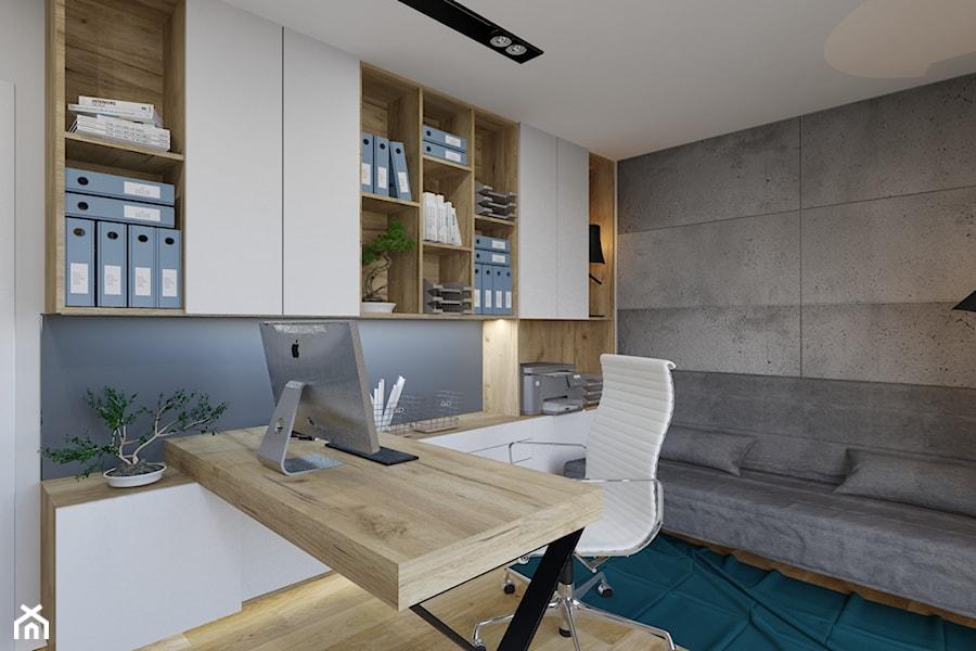 Dom w Kętrzynie - Małe szare biuro domowe kącik do pracy w pokoju, styl nowoczesny - zdjęcie od Architekt Wnętrz Patrycja Wojtaś
