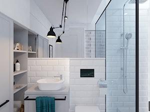 Dom w Czechowicach Dziedzicach - Mała biała łazienka w bloku w domu jednorodzinnym bez okna, styl rustykalny - zdjęcie od Architekt Wnętrz Patrycja Wojtaś
