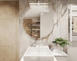Łazienka_01 I Kraków - Średnia biała beżowa łazienka bez okna, styl nowoczesny - zdjęcie od Ewelina Loręcka - projektowanie wnętrz