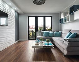 Mieszkanie Siedlce - Duży szary biały salon z tarasem / balkonem, styl nowoczesny - zdjęcie od zaneta-jastrzebska - Homebook