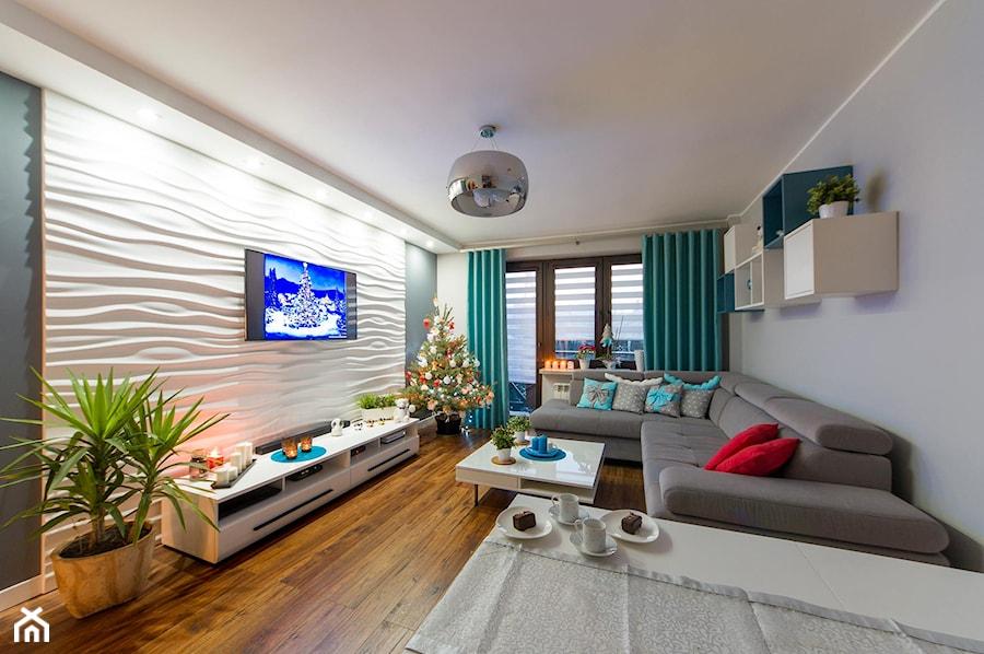 Aranżacje wnętrz - Salon: Mieszkanie Siedlce - Średni szary biały salon z jadalnią z tarasem / balkonem, styl nowoczesny - zaneta-jastrzebska. Przeglądaj, dodawaj i zapisuj najlepsze zdjęcia, pomysły i inspiracje designerskie. W bazie mamy już prawie milion fotografii!