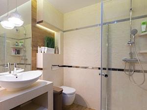 Mieszkanie Siedlce - Duża beżowa łazienka na poddaszu w bloku w domu jednorodzinnym, styl nowoczesny - zdjęcie od zaneta-jastrzebska