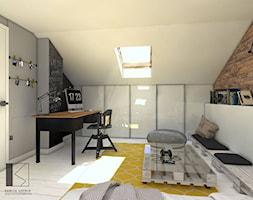 Pokój nastolatka, Kęty - Średnie szare biuro domowe kącik do pracy na poddaszu w pokoju - zdjęcie od Pracownia Projektowa Kamila Szemik
