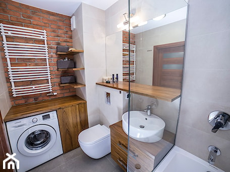 #BJN - Średnia beżowa szara łazienka, styl rustykalny - zdjęcie od Och-Ach_Concept
