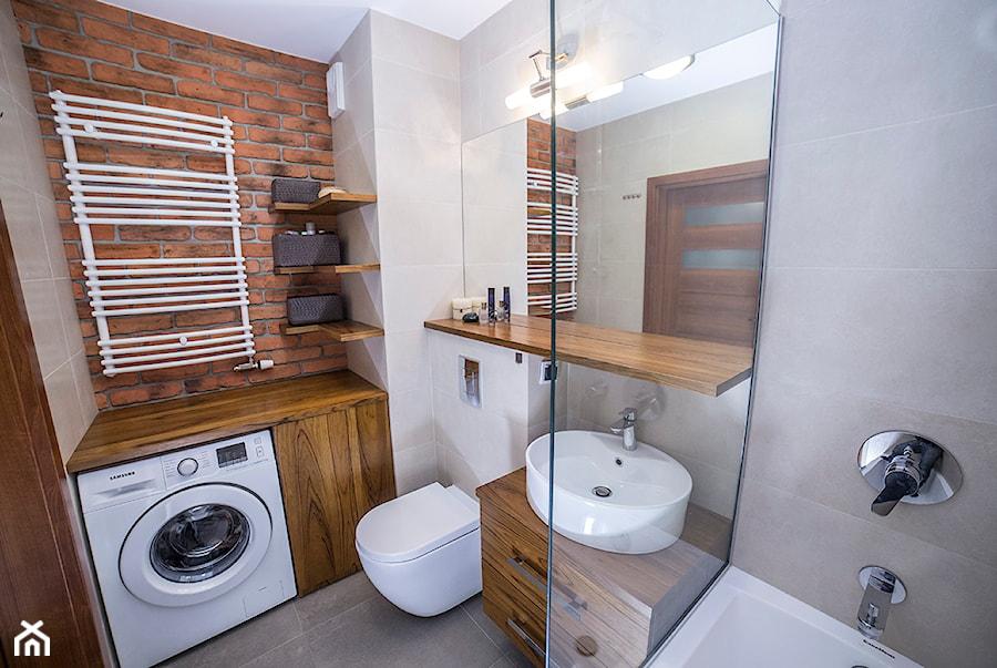 Aranżacje wnętrz - Łazienka: #BJN - Średnia beżowa szara łazienka, styl rustykalny - Och-Ach_Concept. Przeglądaj, dodawaj i zapisuj najlepsze zdjęcia, pomysły i inspiracje designerskie. W bazie mamy już prawie milion fotografii!