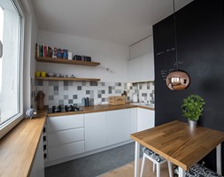 #FRN2 - Mała otwarta biała kolorowa kuchnia w kształcie litery u - zdjęcie od Och-Ach_Concept