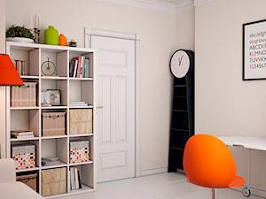 Projekty aranżacji wnętrz studio DEQOS - Średnie beżowe biuro domowe kącik do pracy w pokoju, styl eklektyczny - zdjęcie od DEQOS