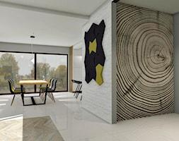 Dom jednorodzinny - projekt salonu, kuchni i łazienek - Mały biały szary hol / przedpokój, styl nowoczesny - zdjęcie od ZIELONE studio projektowe