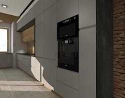 Nowoczesne mieszkanie z elemntami industrialnymi - Duża otwarta szara kuchnia w kształcie litery l jednorzędowa w aneksie z oknem, styl industrialny - zdjęcie od ZIELONE studio projektowe