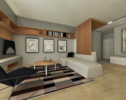 Mieszkanie 100m2 - Średni szary salon, styl nowoczesny - zdjęcie od ZIELONE studio projektowe