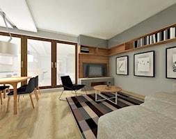 Mieszkanie 100m2 - Duży szary salon z jadalnią, styl nowoczesny - zdjęcie od ZIELONE studio projektowe