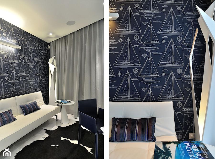 Apartament w Sea Towers - Małe czarne biuro domowe kącik do pracy w pokoju - zdjęcie od Ministerstwo Spraw We Wnętrzach