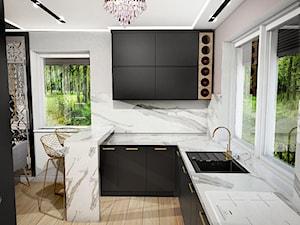 Salon z aneksem - Średnia otwarta biała szara kuchnia w kształcie litery l w aneksie z wyspą z oknem, styl nowoczesny - zdjęcie od Klaudia Archacka