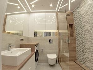 Apartament wakacyjny - Neptun Park Gdańsk - 42m2 - 2017 - Mała szara łazienka na poddaszu w bloku w domu jednorodzinnym bez okna, styl nowoczesny - zdjęcie od Studio86