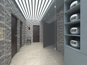 Salon w błękicie - Duży szary hol / przedpokój, styl minimalistyczny - zdjęcie od Monika Tomczak