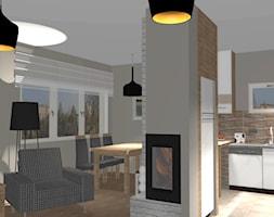 Salon z kuchnią i jadalnią wersja pierwsza - zdjęcie od Jolanta Dybowska - architekt wnętrz