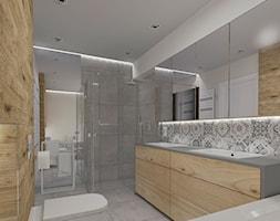 Projekt wnętrza domu w Żarach - Średnia beżowa szara łazienka w domu jednorodzinnym bez okna, styl nowoczesny - zdjęcie od KADA WNĘTRZA S.C