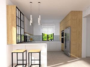 PROJEKT KUCHNI DĄB NATURALNY - Średnia otwarta biała szara kuchnia w kształcie litery g w aneksie z wyspą, styl nowoczesny - zdjęcie od KADA WNĘTRZA S.C