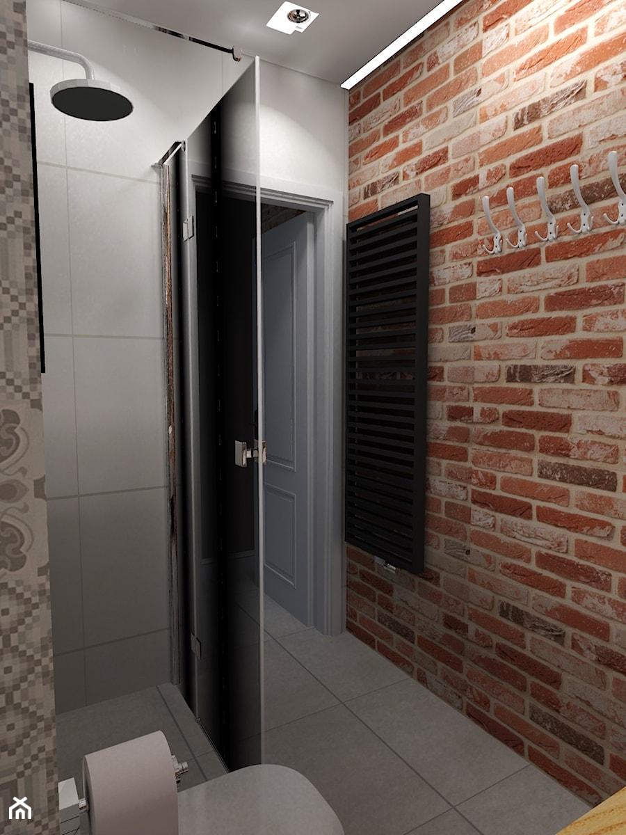 METAMORFOZA MIESZKANIA - NOWA SÓL - Mała szara łazienka w bloku w domu jednorodzinnym bez okna, styl rustykalny - zdjęcie od KADA WNĘTRZA S.C