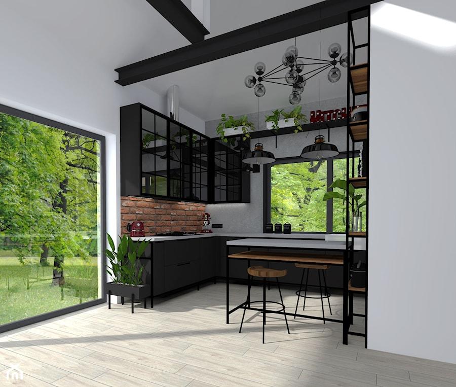 PROJEKT KUCHNI W STYLU INDUSTRIALNYM - Średnia otwarta biała szara kuchnia w kształcie litery g w aneksie z oknem, styl industrialny - zdjęcie od KADA WNĘTRZA S.C