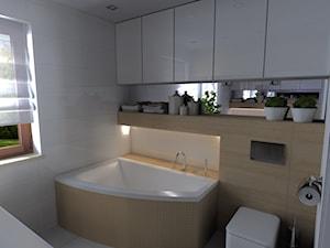 ŁAZIENKI DRZONKÓW - Mała biała brązowa łazienka w domu jednorodzinnym z oknem, styl nowoczesny - zdjęcie od KADA WNĘTRZA S.C