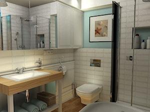 Średnia biała łazienka w bloku bez okna, styl skandynawski - zdjęcie od KADA WNĘTRZA S.C