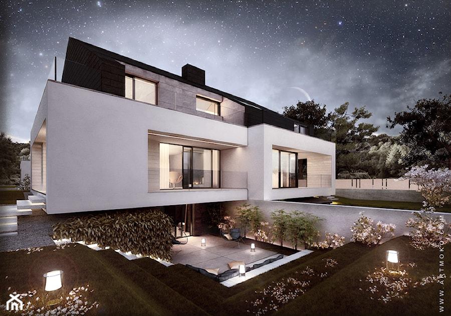 Średnie jednopiętrowe nowoczesne domy wielorodzinne murowane z dwuspadowym dachem, styl minimalistyczny - zdjęcie od artMOKO