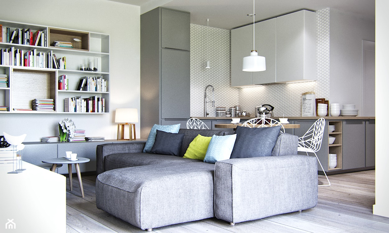 szary narożnik, metalowe krzesła, kafelki heksagonalne na ścianie w kuchni