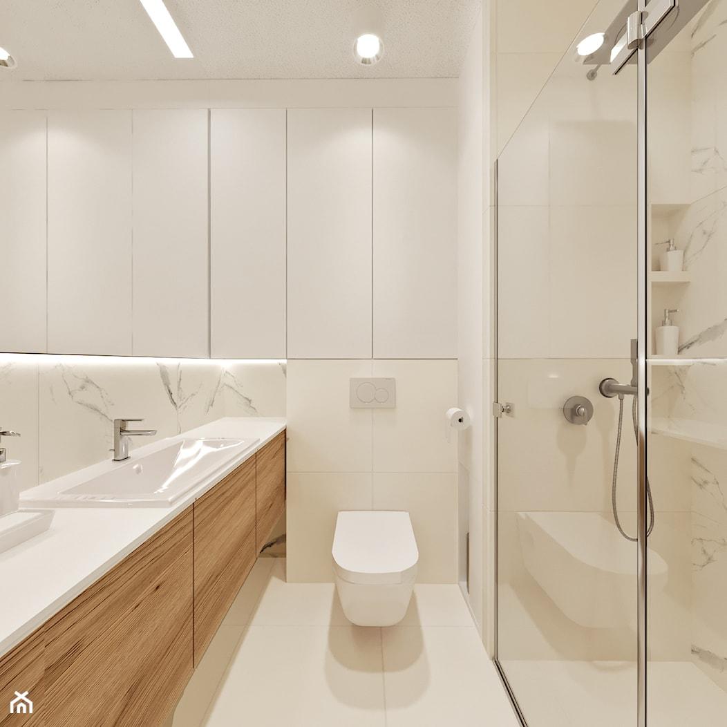 Daleko od miasta - Mała biała łazienka w bloku w domu jednorodzinnym bez okna, styl minimalistyczny - zdjęcie od Projektownia Wnętrz - Homebook