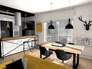 SOFT LOFT - Średnia otwarta czarna jadalnia w kuchni w salonie, styl skandynawski - zdjęcie od Formacja Projekt