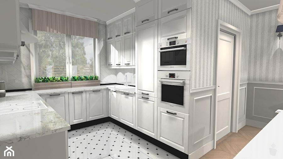 Średnia otwarta kuchnia w kszta�cie litery u z oknem styl