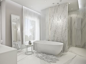 Mieszkanie Cynamonowe - Duża biała beżowa szara łazienka w domu jednorodzinnym z oknem, styl nowoczesny - zdjęcie od RAPA Living