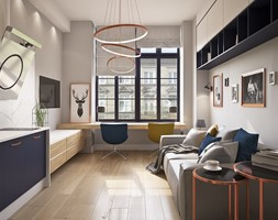 Jowisz - Mały szary salon z bibiloteczką z kuchnią, styl nowoczesny - zdjęcie od RAPA Living