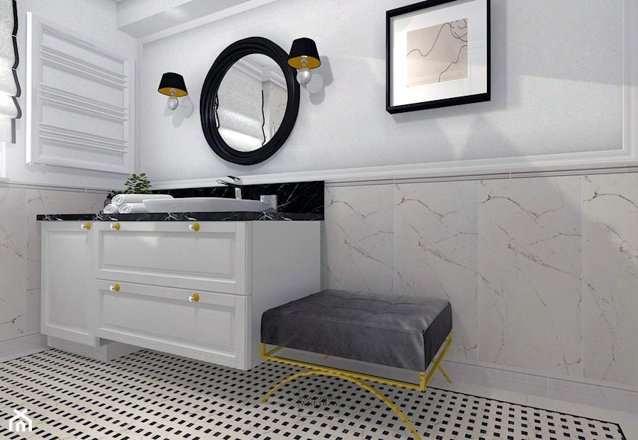 Aranżacje wnętrz - Łazienka: Apartament w Bolesławcu - Mała szara łazienka w bloku w domu jednorodzinnym z oknem, styl nowojorski - Pracownia Wnętrza. Przeglądaj, dodawaj i zapisuj najlepsze zdjęcia, pomysły i inspiracje designerskie. W bazie mamy już prawie milion fotografii!