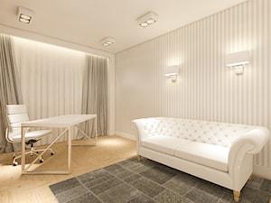 Apartament w sercu Warszawy - Średnie beżowe białe biuro domowe w pokoju - zdjęcie od Nubo Interior