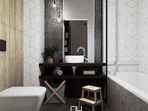 Metalowe konstrukcje we wnętrzach - Mała biała łazienka na poddaszu w bloku w domu jednorodzinnym bez okna - zdjęcie od Nubo Interior