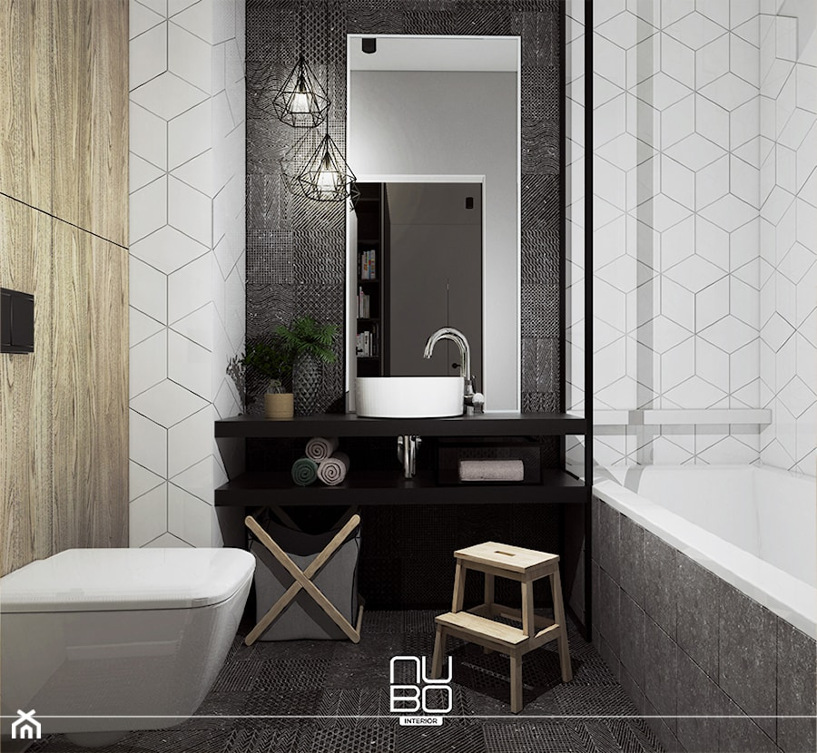 Aranżacje wnętrz - Łazienka: Metalowe konstrukcje we wnętrzach - Mała biała łazienka na poddaszu w bloku w domu jednorodzinnym bez okna - Nubo Interior. Przeglądaj, dodawaj i zapisuj najlepsze zdjęcia, pomysły i inspiracje designerskie. W bazie mamy już prawie milion fotografii!