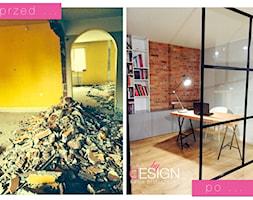 Projekt Września - Małe szare czerwone biuro pracownia w pokoju, styl industrialny - zdjęcie od kabeDesign kasia białobłocka