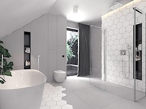 Projekt 13 - Średnia szara łazienka na poddaszu w domu jednorodzinnym z oknem, styl nowoczesny - zdjęcie od Pracownia projektowania wnętrz Loci