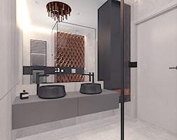 Projekt 16 - Mała szara łazienka w bloku w domu jednorodzinnym bez okna, styl nowoczesny - zdjęcie od Pracownia projektowania wnętrz Loci