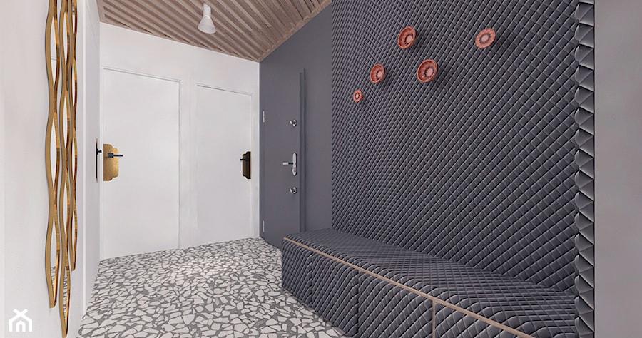 Aranżacje wnętrz - Hol / Przedpokój: Projekt 11 - Duży biały czarny hol / przedpokój, styl nowoczesny - Pracownia projektowania wnętrz Loci. Przeglądaj, dodawaj i zapisuj najlepsze zdjęcia, pomysły i inspiracje designerskie. W bazie mamy już prawie milion fotografii!