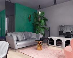 projekt 10 - Średni szary biały zielony salon z jadalnią, styl nowoczesny - zdjęcie od Pracownia projektowania wnętrz Loci