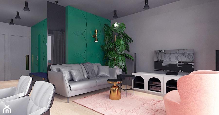 Aranżacje wnętrz - Salon: projekt 10 - Średni szary biały zielony salon z jadalnią, styl nowoczesny - Pracownia projektowania wnętrz Loci. Przeglądaj, dodawaj i zapisuj najlepsze zdjęcia, pomysły i inspiracje designerskie. W bazie mamy już prawie milion fotografii!