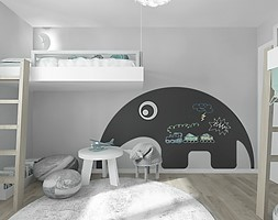 projekt 7 - Średni szary czarny pokój dziecka dla chłopca dla dziewczynki dla rodzeństwa dla ucznia dla malucha dla nastolatka, styl skandynawski - zdjęcie od Pracownia projektowania wnętrz Loci