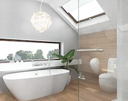 projekt 6 - Średnia szara łazienka na poddaszu w domu jednorodzinnym z oknem, styl nowoczesny - zdjęcie od Pracownia projektowania wnętrz Loci