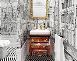 projekt 4 - Mała biała czarna łazienka na poddaszu w bloku w domu jednorodzinnym bez okna, styl eklektyczny - zdjęcie od Pracownia projektowania wnętrz Loci