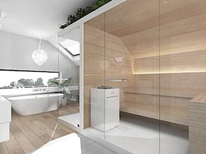 projekt 6 - Duża szara łazienka na poddaszu w domu jednorodzinnym jako domowe spa z oknem, styl nowoczesny - zdjęcie od Pracownia projektowania wnętrz Loci