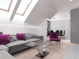 Projekt14 - Średni szary biały salon z jadalnią, styl nowoczesny - zdjęcie od Pracownia projektowania wnętrz Loci