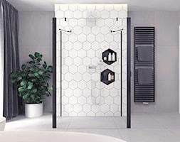 Projekt 13 - Duża szara łazienka w bloku w domu jednorodzinnym z oknem, styl nowoczesny - zdjęcie od Pracownia projektowania wnętrz Loci
